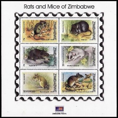 Zimbabwe Rats and Mice MS Light Dull Colours SG#MS1261 MI#Block 25