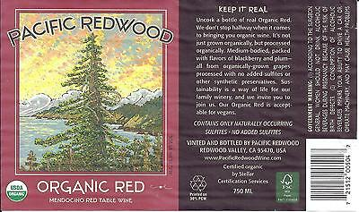 Pacific Redwood Organic Red Wine Bottle Label