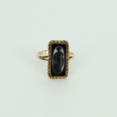 Antique Deco Cameo Ring Vintage 14k Yellow Gold Estate Fine Jewelry Heirloom