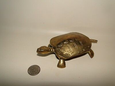 Vintage Solid Brass Turtle Box With Hinged Lid