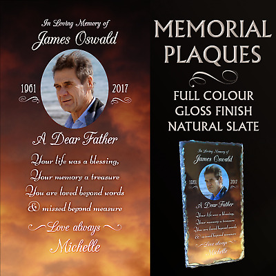 Slate Memorial  Plaque Personalised With Your Photo & Message. Remembrance Keeps