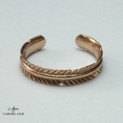 18ct Rose Gold on Solid 925 Sterling Silver Toe / Midi Ring Fern, Leaf, Gift Bag