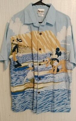 fdf93bb6c Walt Disney World Hang Loose Hawaiian Shirt Mens Mickey Pluto Surf Beach  Ocean S