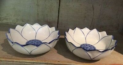 Paor Of Lotus Flower Shaped Dishes Blue And White