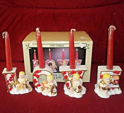LOVE ANGELS Set of 4 Angel Candleholders Red Candles New in Box
