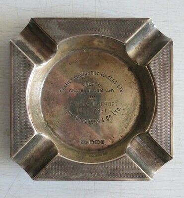 Viners Silver Ashtray Sheffield 1951 75g. Engraved and in very good condition.