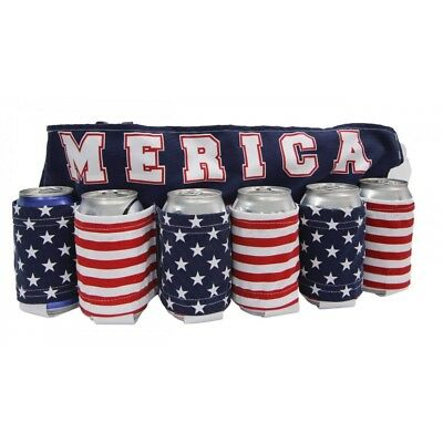 MERICA American Flag USA Stars and Stripes 6 Can Beer Belt NEW