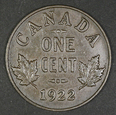 1922 Canada One Cent - VF Condition - Key Date