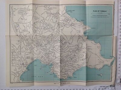 Plan Of Torquay, C1954 Vintage Map, Original