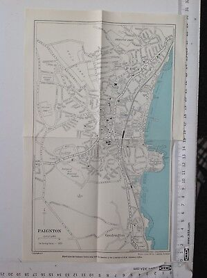 Paignton Street Plan,  C1954 Vintage Map, Original