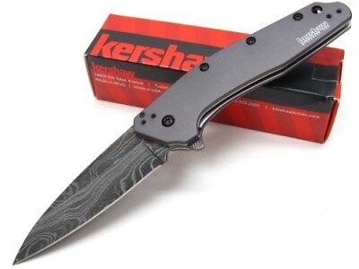 Kershaw Gray Dividend Straight Assisted Damascus Folding Pocket Knife 1812GRYDAM