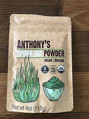 Anthony's Spirulina Powder~USDA Organic~Vegan~Gluten Free~4 Oz~Brand New!!