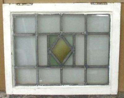 """OLD ENGLISH LEADED STAINED GLASS WINDOW Simple, Pretty Diamond 22.75"""" x 18.5"""""""