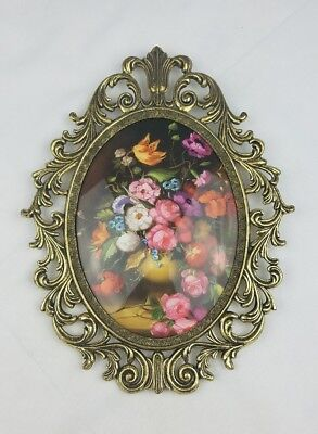 Vintage brass ornate oval picture with frame and glass cover roses floral
