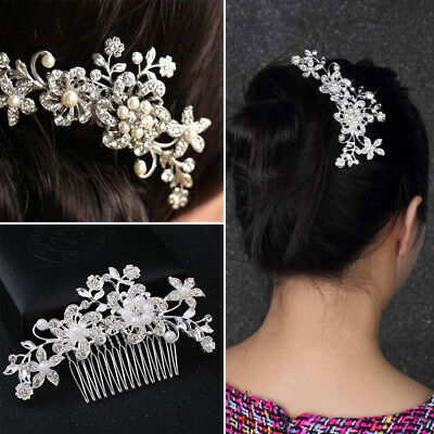 1/2/4PCS Bridal Hair Comb Pearl Crystal Headpiece Wedding Accessories Silver AU