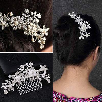 4X Bridal Wedding Crystal Branch Pearl Hair Clip Hairpin Tiara Headpiece Jewelry