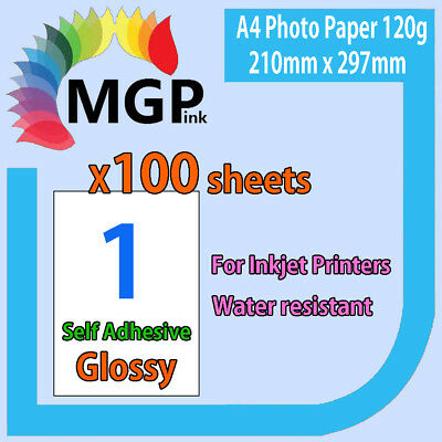 100x A4 120gsm White Glossy Self Adhesive Sticker Photo Paper Sheet Label
