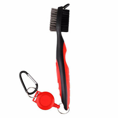Dual Bristle Golf Club Brush Cleaner Ball Cleaning Clip Groove Tool Washer New