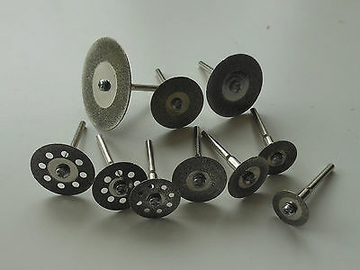 10pc MINI Diamond Cutting Discs Fit Rotary Tool Dremel Drills Cut Off