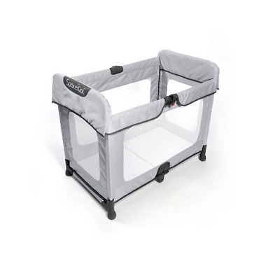 Brand new Spacecot Alfa flat folding full sized travel cot Silver & travel bag