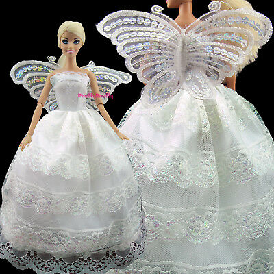 Dancing White Lace Dress With Butterfly Wing Clothing Clothes For Barbie Doll 61