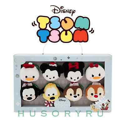 2015 Disney Store Mini Tsum Tsum Mickey & Friends Christmas Holiday Set of 8-NIB