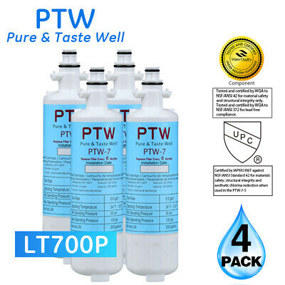 PTW LG LT700P Kenmore 46-9690 ADQ36006101 Replacement For Water Filter 4 Pack