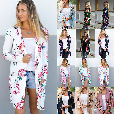 Women's Boho Floral Print Long Sleeve Cardigan Casual Jacket Coat Kimono Outwear