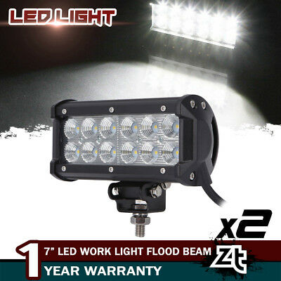 2x 7INCH 36W FLOOD LED WORK LIGHT BAR OFFROAD ATV FOG LAMP TRUCK SUV 4WD 12V 24V