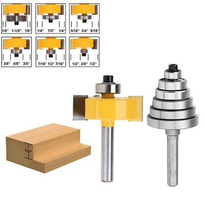1/4 Inch Shank Rabbeting Router Bit with 6 Bearings Set for Multiple Depths D0W0