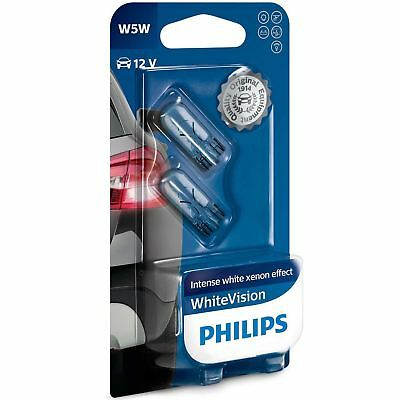 PHILIPS W5W 501 12V WhiteVision Sidelight Bulbs Xenon effect 12961NBVB2 Set