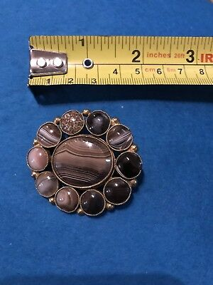 Antique Large Victorian Scottish Banded Cabochon Agate Brooch Stunning Freepost
