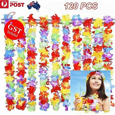 120Pcs Hawaiian Flower Lei Leis Tropical Dress Beach Luau Party Garland Necklace