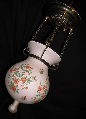 Vtg Art Deco Era Flower 3 Chain Glass Shade Ceiling Light Chandelier Fixture