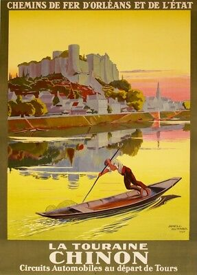 LA TOURAINE CHINON D'ORLEANS ETAT Vintage French Travel Poster 250gsm