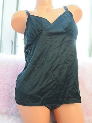 VTG Aristocraft Black Satin Nylon Simple Classic Camisole Half Slip Top sz 38