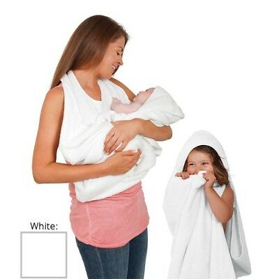 ClevaMama Baby Apron Towel Hooded Cotton Soft Hands Free - White