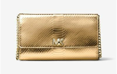 eba1b8ee0cc4 NWT Michael Kors Mott Clutch Crossbody Bag Gold Metallic Snake Embossed  Leather