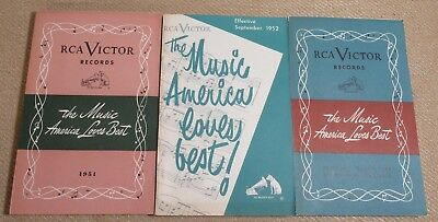 Lot of 3 RCA Victor Record Catalogs 1951-1952