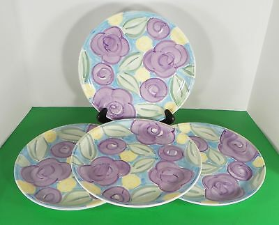 Libbey LIE44 Dinner Plate (s) LOT OF 4 Blue Purple Yellow Floral
