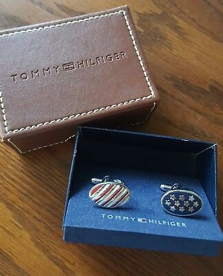 f84087a0 Tommy Hilfiger Patriotic Star and Stripes Stainless Steel Cufflinks Vintage