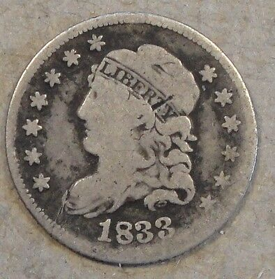 1833 Capped Bust Half Dime Decent Lower Grade Coin
