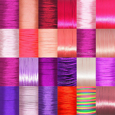Rattail Satin Nylon Cord 2mm RED/ PINK/ PURPLE tones, kumihimo braiding macrame