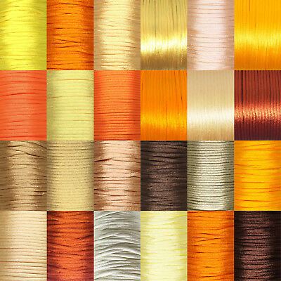 Rattail Satin Nylon Cord 2mm GOLD/ ORANGE/ BROWN/ YELLOW tones, kumihimo macrame