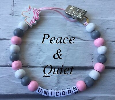 Personalised Dummy Clip💗Wooden🦄Chain💗unicorn🦄grey💗pink🦄white💗girl #PWP