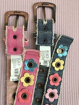 The Children's Place Belts Size 4-7 Lot of 2 Denim Pink Blue Floral Embroidered