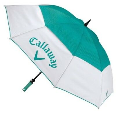 Callaway Golf Uptown Umbrella White Teal Up Town Double Canopy 60""