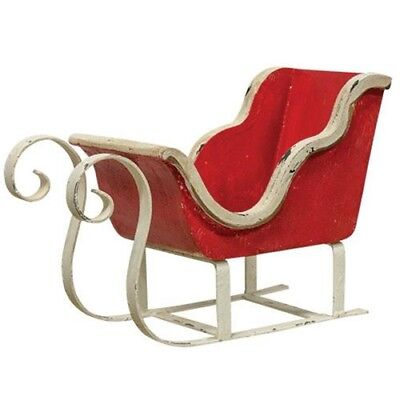 Christmas RUSTIC RED & WHITE SLEIGH Country Farmhouse Holiday Primitive Display