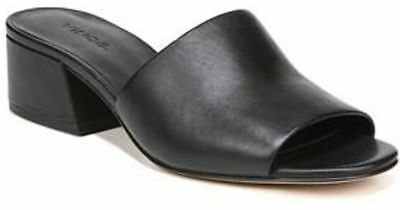 75050c334f8b  275 size 7.5 Vince Karissa Black Leather Slide Mules Heel Womens Sandals