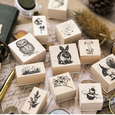 Cute Stationery Plants Wooden Rubber Stamp Cards Decor Scrapbooking Painting